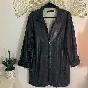 Donna Karan Long Leather Jacket